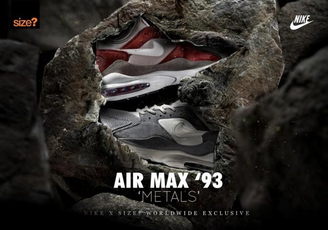 Size? presenta oficialmente las dos Nike Air Max 93 «Metals»