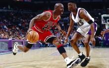 Michael Jordan drives baseline