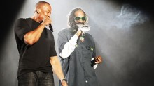 INDIO, CA - APRIL 15:  Rappers Dr. Dre (L) and Snoop Dogg perform onstage during day 3 of the 2012 Coachella Valley Music & Arts Festival at the Empire Polo Field on April 15, 2012 in Indio, California.  (Photo by Christopher Polk/Getty Images for Coachella)