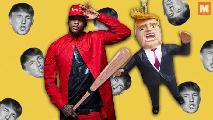 YG invita a sus fans al escenario para golpear una piñata de Donald Trump
