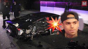 Se estrella y queda destrozado el Lamborghini de Chris Brown