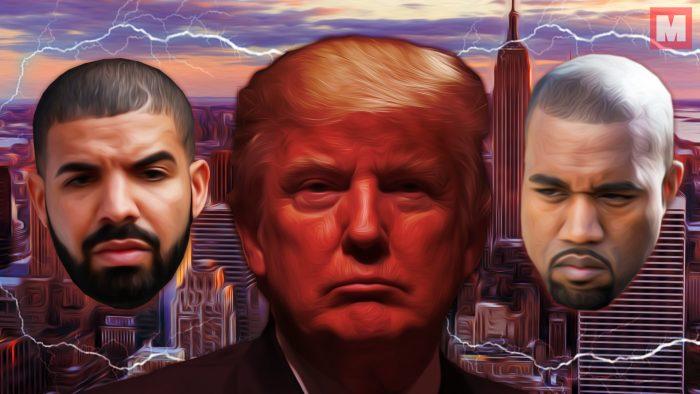 Mientras Drake ataca a Trump, Kanye West borra sus tweets para apoyarle
