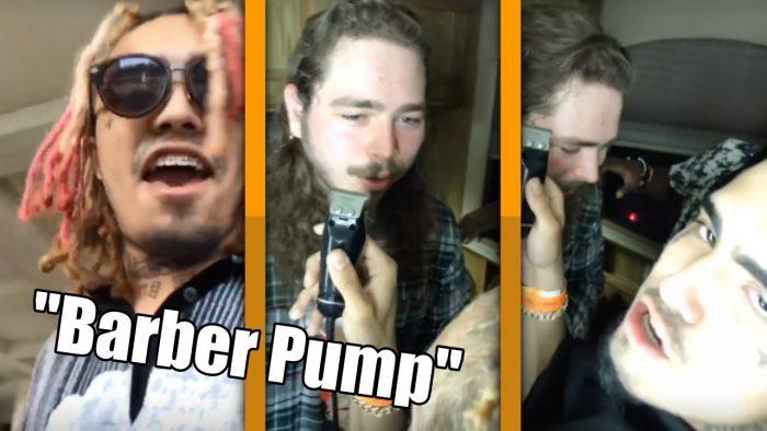 Lil Pump muestra sus skills de barbero haciéndole las cejas a Post Malone