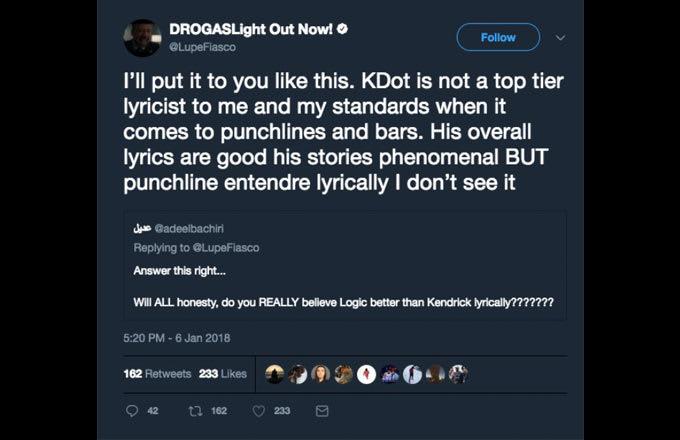 lupe tweet1 - Lupe Fiasco desata una polémica sobre las letras de Kendrick Lamar
