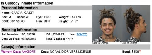 lil pump inmate info 500x180 - Lil Pump, arrestado en Miami por conducir su Rolls-Royce sin licencia