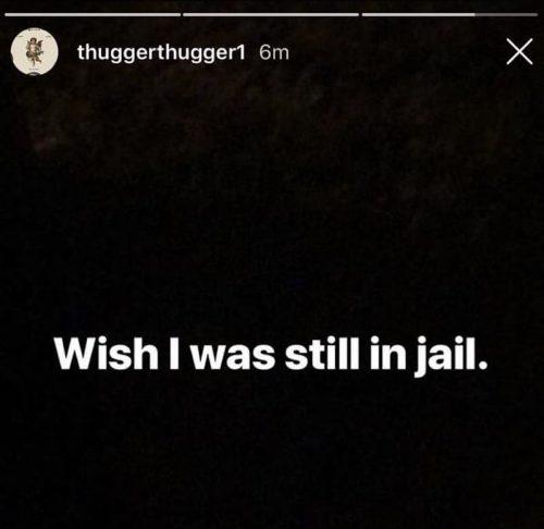 Young Thug IG Story jail 500x486 - Young Thug dice en su Instagram que desearía seguir en la cárcel