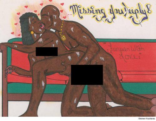 1221 tupac drawing 3 500x389 - Sale a subasta un dibujo pornográfico hecho por 2Pac en prisión