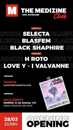 flyer inauguracion club web 281x500 - ¡Inauguramos The Medizine Club en Madrid con Selecta, Blasfem, H Roto y Love Y-i el 28 de marzo!