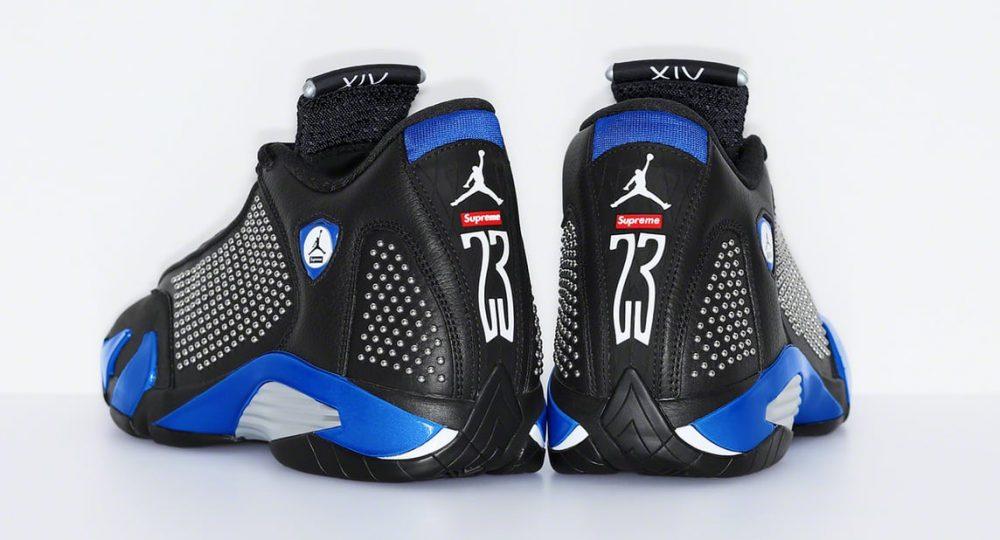 supreme air jordan 14 black blue heel 1000x540 - Supreme y Jordan revelan cómo son sus Jordan Air 14
