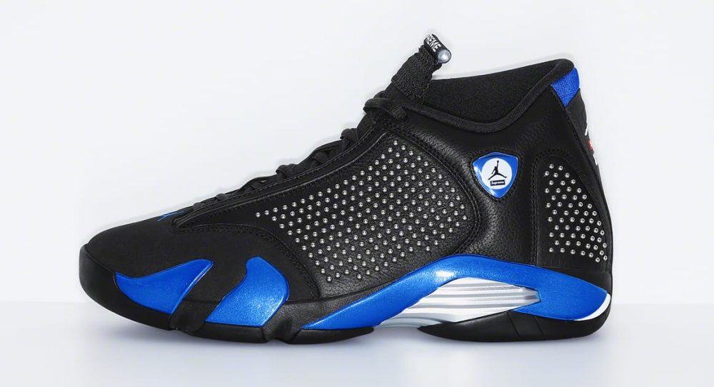 supreme air jordan 14 black blue lateral 1000x542 - Supreme y Jordan revelan cómo son sus Jordan Air 14