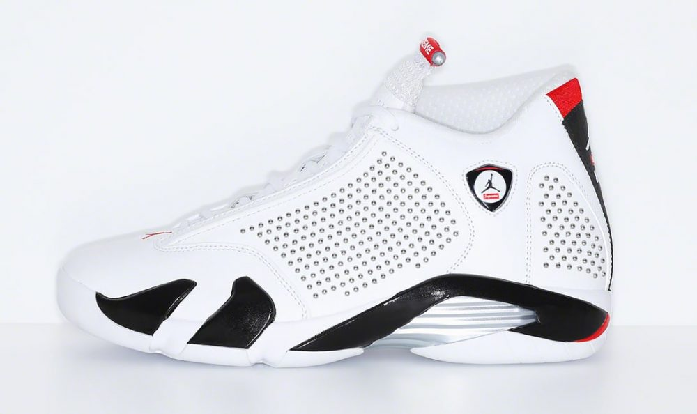 supreme air jordan 14 white red lateral 1000x594 - Supreme y Jordan revelan cómo son sus Jordan Air 14