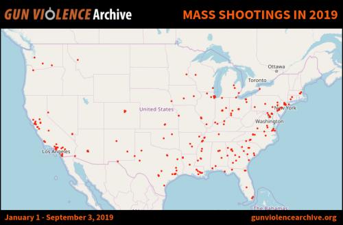 tiroteos 500x329 - USA promedia más de un tiroteo masivo al día durante 2019