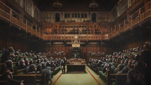 El Banksy con chimpancés en el Parlamento se vende por 12,1 millones