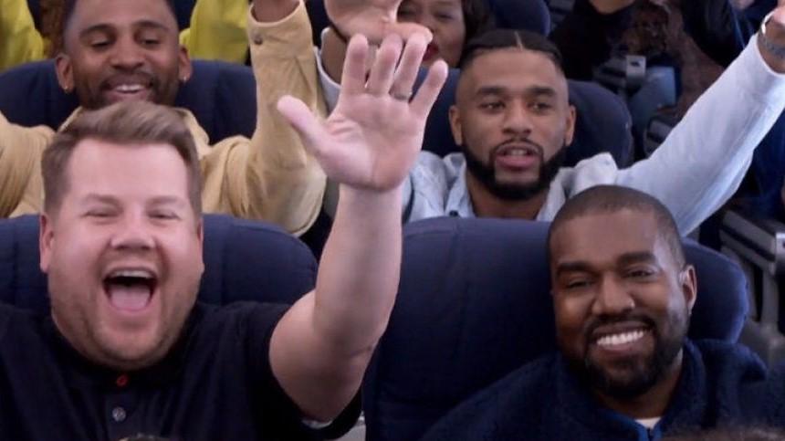 Kanye West traslada a un avión el  James Corden «Carpool Karaoke»