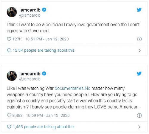 Captura 17 500x451 - Cardi B anuncia en Twitter su deseo de meterse en política