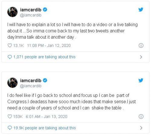 Captura1 500x446 - Cardi B anuncia en Twitter su deseo de meterse en política