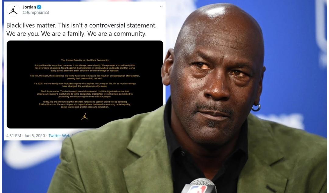 Michael Jordan dona 100 millones de dólares para combatir el racismo
